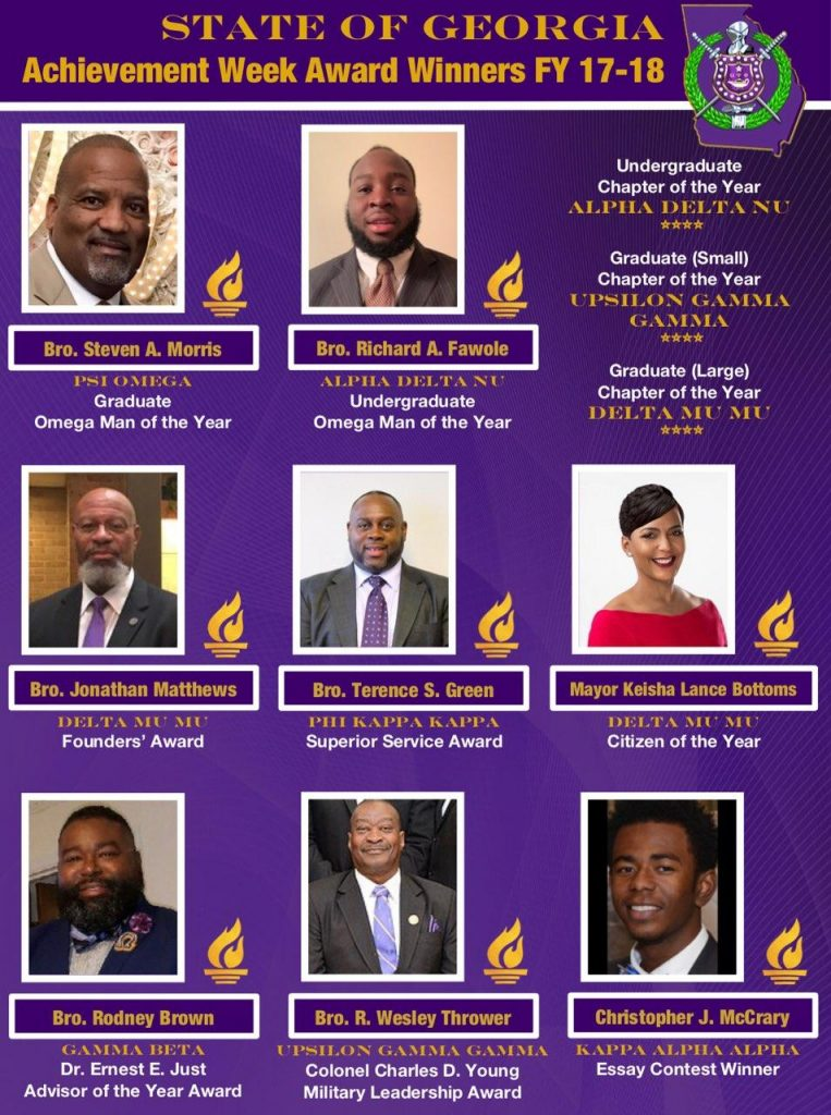 FY 2017-18 Omega Psi Phi State of GA Achievement Week Award Winners