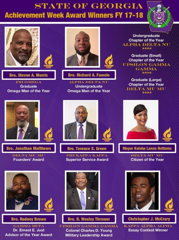 FY 2017-18 Omega Psi Phi State of GA Achievement Week Award Winners