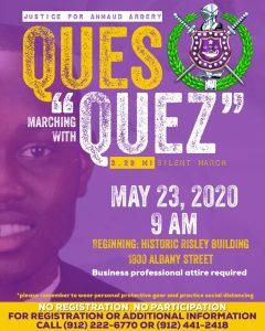 Ques marching with Quez Ahmaud Arbery Omega Psi Phi flyer