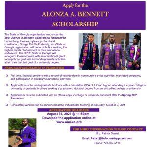 Omega Psi Phi State of Georgia Alonza A. Bennett Scholarship flyer